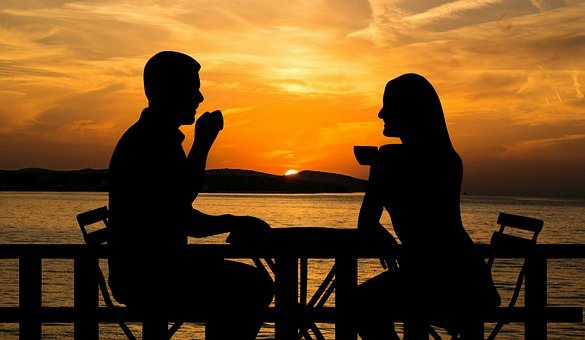Sunset, Couple, Coffee, Sitting, Table