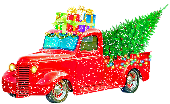 Christmas Pick Up Truck, Christmas Tree