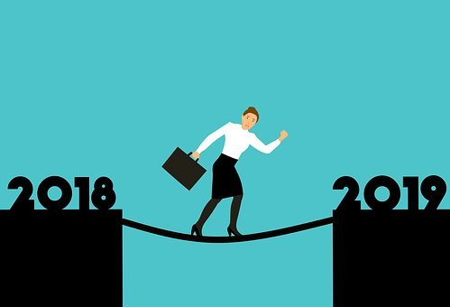A lady crossing a rope from 2018 to 2019 to signify what lies in the year ahead at Wealthy Affiliate