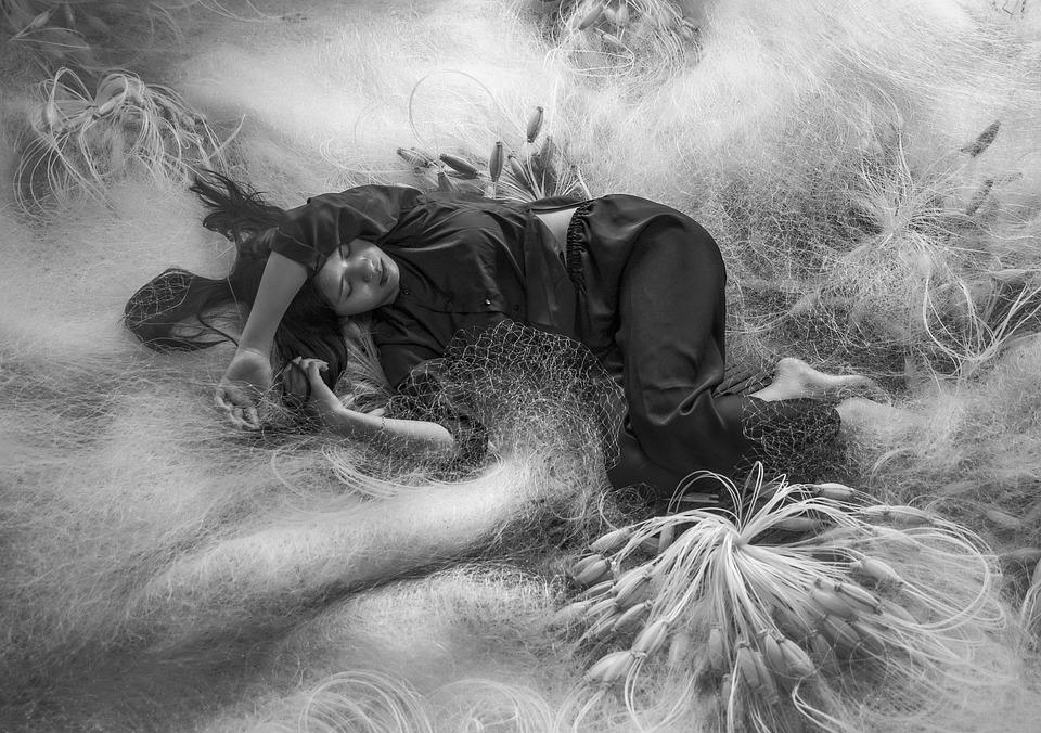 Girl, Sleep, Fishing Net, Rest, Model, Woman, Beauty
