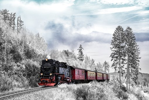 Vlak, Přeprava, Zima, Sezóna, Krajina