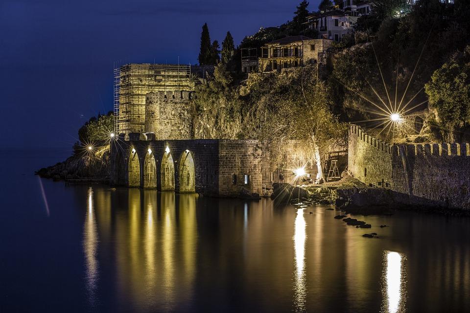 Alanya, Night, Kızılkule, Landscape, Castle, Black