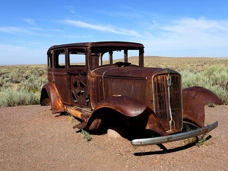 Car, Transport, Road, 66, America, Wreck
