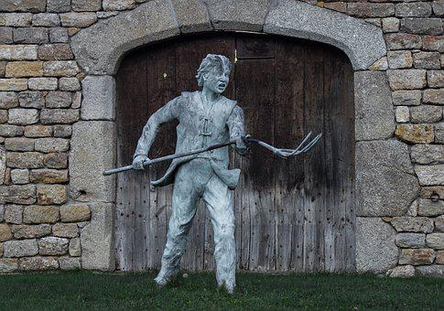 Statue, Paysan, Colère, Fourche, Révolte