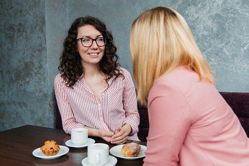 女の子, 女性, 友人, 美しい, カフェ, コーヒー, 笑顔, 若い, 通信