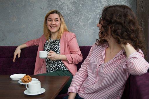 女の子, 女性, 友人, 美しい, カフェ, コーヒー, 若い, 通信, 友情