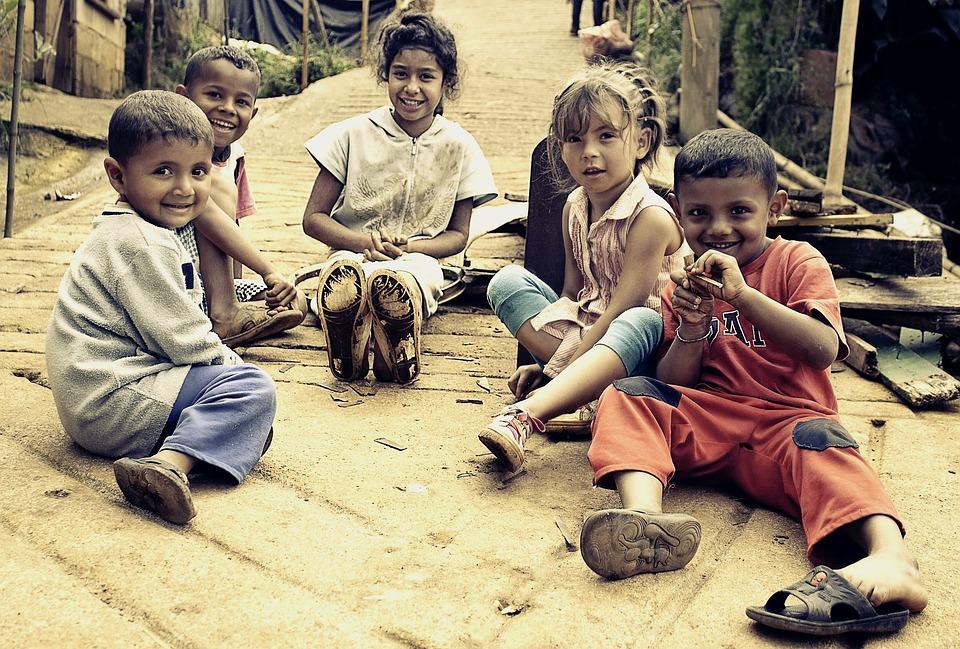 Kinder, Armut, Menschen, Porträt, Schmutzig, Lächeln