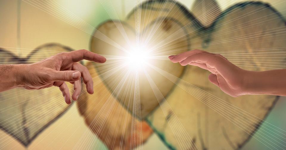 Geloof, Liefde, Hoop, Handen, Contact, Sluiten, Stralen