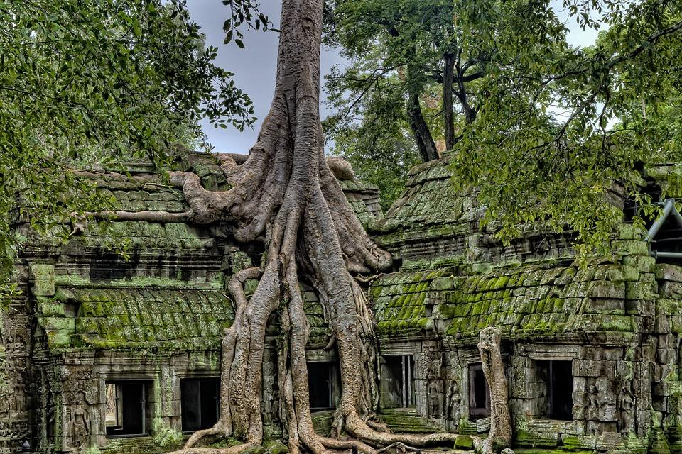 Antigos, Angkor, Templos De Angkor Wat, Budismo