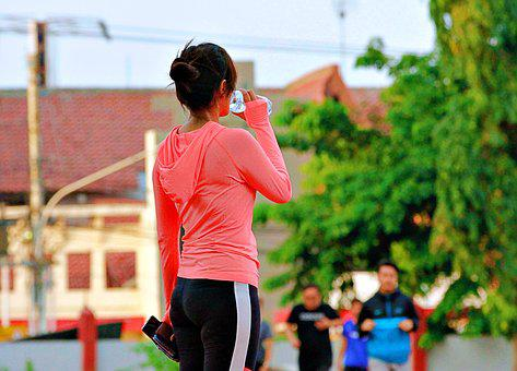 Drink, Run, Sport, Health, Woman, Race