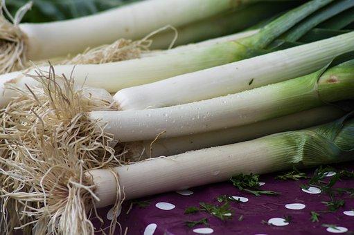 ネギ, 野菜, 庭, 秋, 収穫