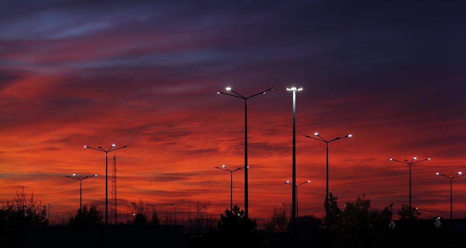 Rudá Obloha, Západ Slunce, Světla, Soumrak, Krajina