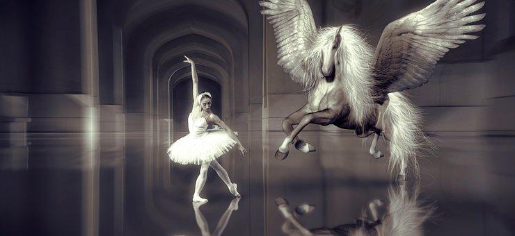 Dance, Ballet, Dancer, Horse, Wing, Hall