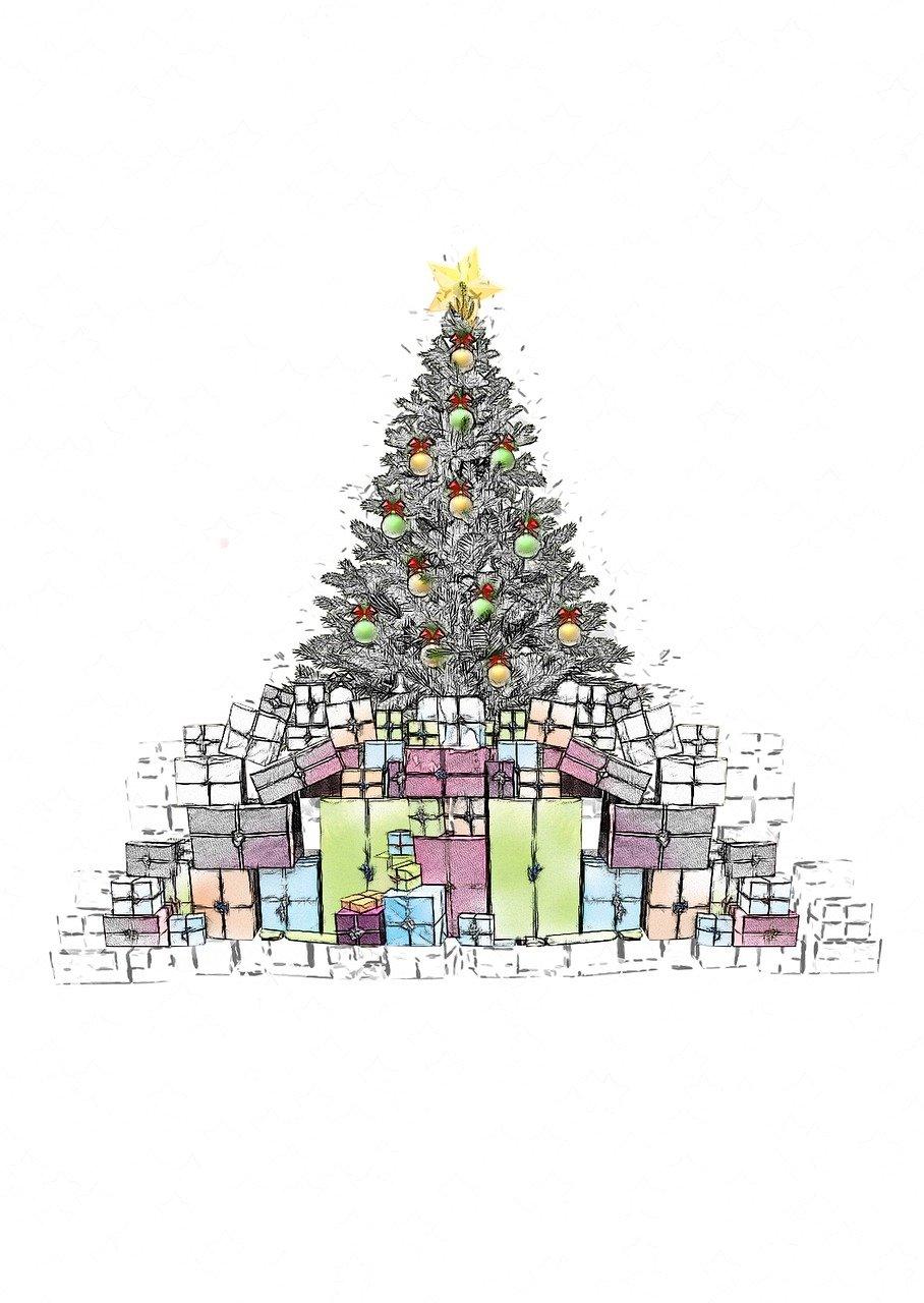 Natal Hadiah Sketsa Gambar Gratis Di Pixabay