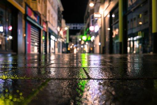 商店街, 反射, 照明, 夜, 市, アーキテクチャ, オランダ, 都市