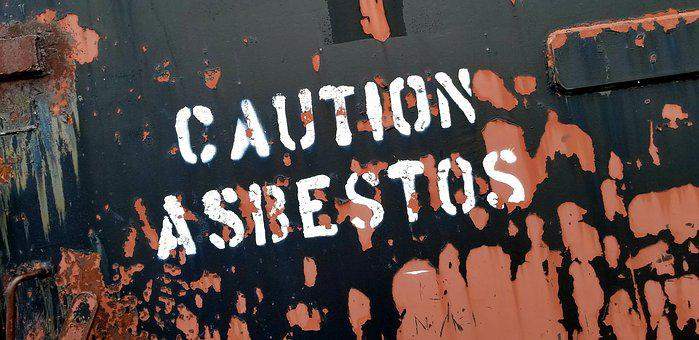 Sign, Caution, Asbestos, Spray Paint