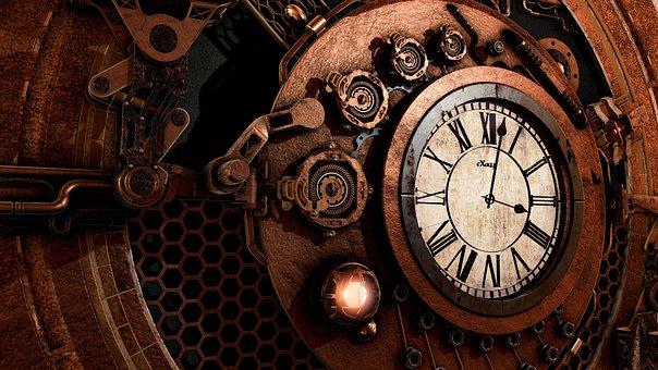 Steampunk, Clock, Time, Antique