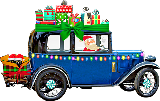 Christmas Car, Gifts, Cats, Santa Claus