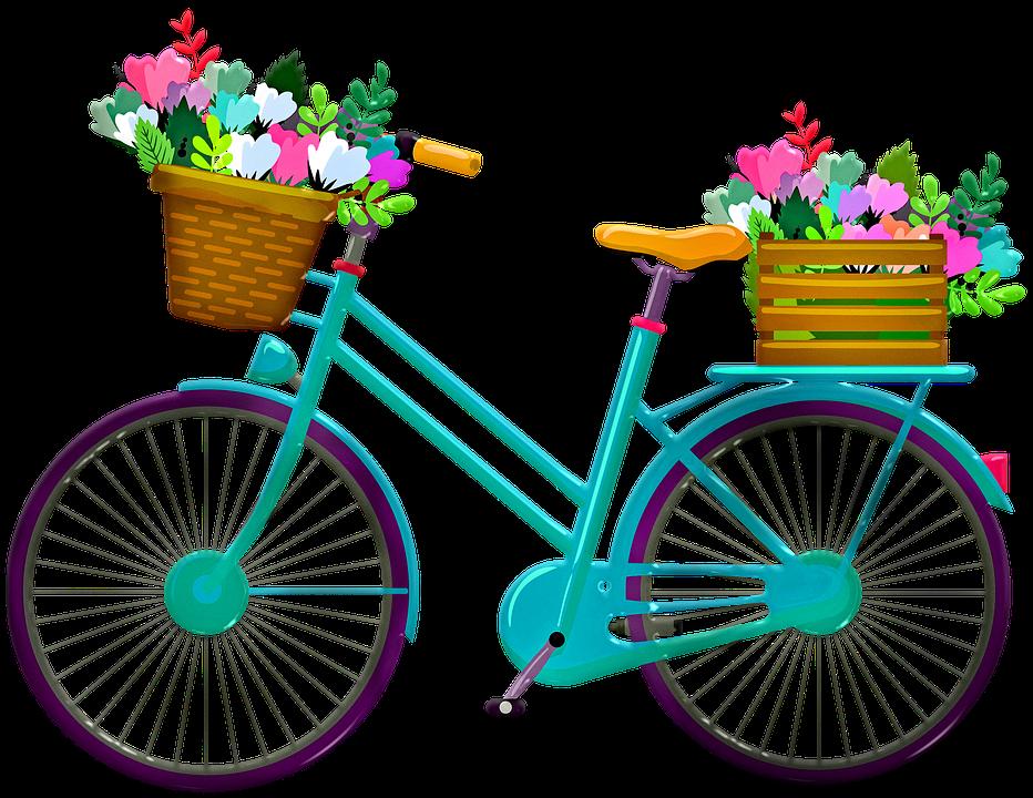 Bicicletta Con Fiori, Cestino Della Bicicletta, Bici