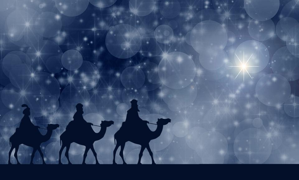 東方の三博士, クリスマス, 夜, 流れ星, 郵便