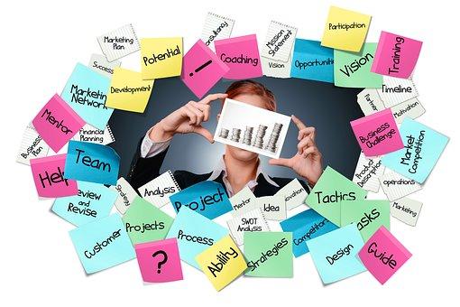付箋, ポストで, ビジネス, キャリア, 起動します, ターゲット, アイデア