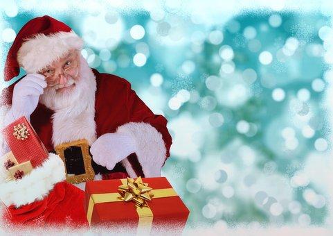 Christmas Motif, Santa Claus, Gifts