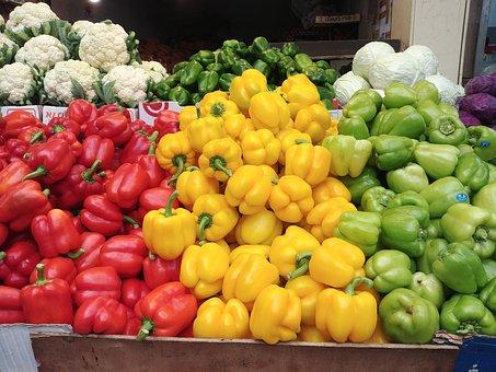 Pepper, Market, Vegatables, Vegatables