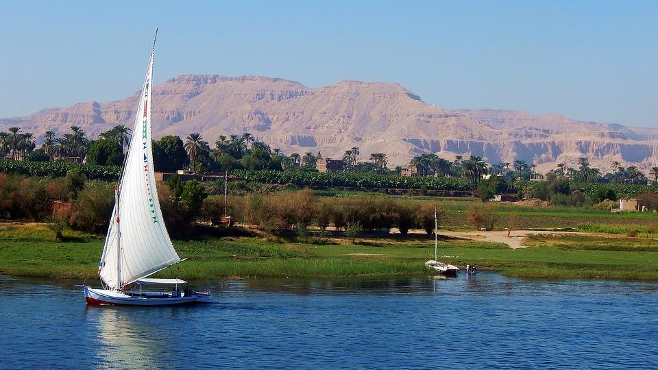 Египет, Нил, Река, Парусный Спорт, Гора, Доставка