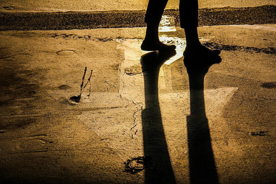 Modern Pilgrim, Journey, Walking, Footsteps, Shadows