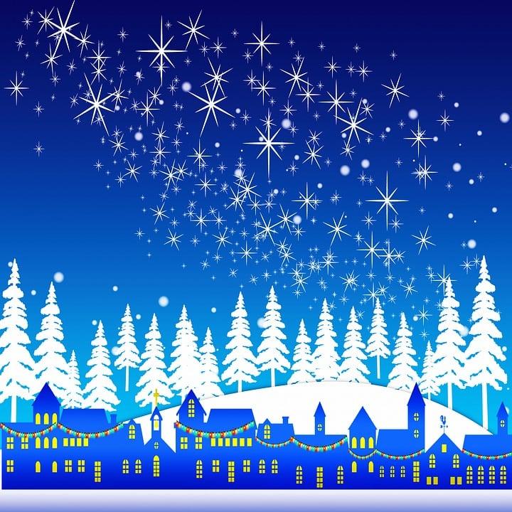 Sneeuwvlokken, Besneeuwde Landschap, Rendier, S Nachts