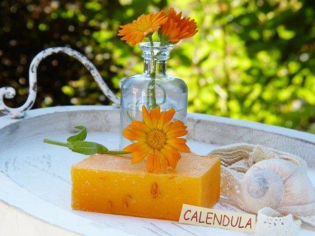 石鹸, キンセンカ, マリーゴールド, 花, 健康, 装飾, 美容室