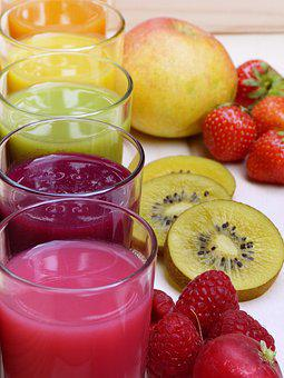 Saft, Smoothies, Bunt, Farbenfroh, Glas