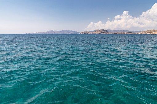 Agua, Horizonte, Brillante, Azul, Mar