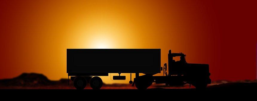 Sunset, Semi Trailers, Truck, Transport
