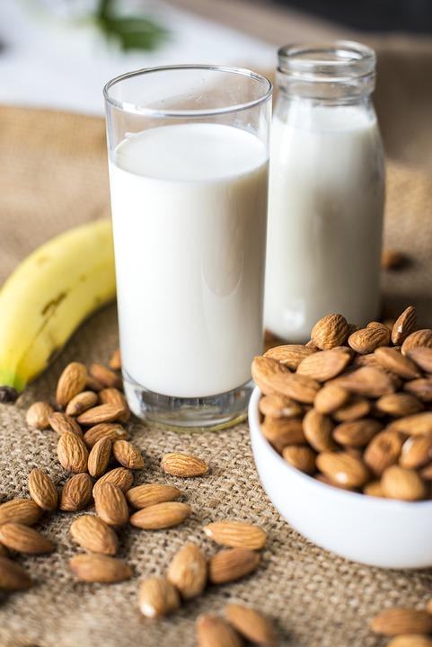 Mandorla, Latte Di Mandorla, Banana, Bottiglia, Ciotola