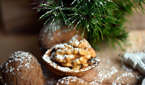 Walnut, Nut, Christmas Motif, Christmas