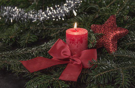 Christmas, Candle, Candle Light, Red