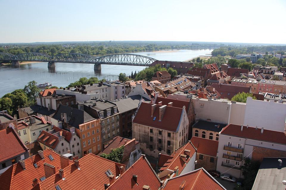 Toruń, Wisła, Krajobraz, Miasto, Rzeka