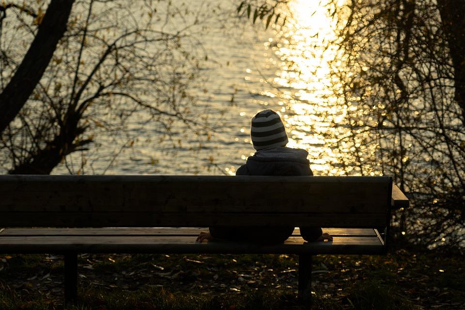 Menino, Sozinho, Sessão, Banco, Pôr Do Sol, Sol