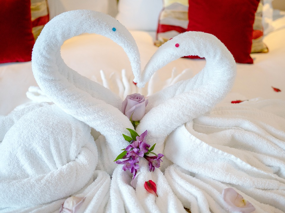 Swan shaped towels on cruise ship bed