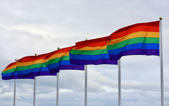 Pride rainbow flags flying in the wind.