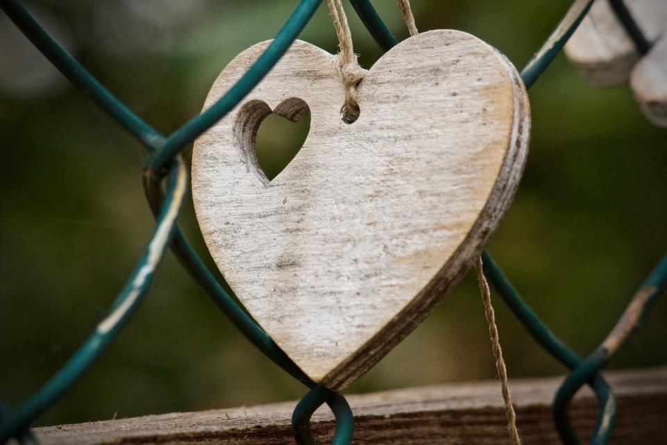 心, 愛, ロマンス, シンボル, 報告書, 気持ち, 感情, 愛情, 背景, 一緒に, フェンス