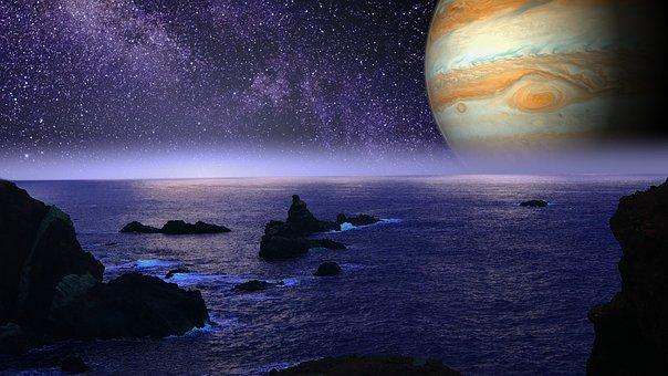 Alien Planet, Jupiter, Ocean, Stars