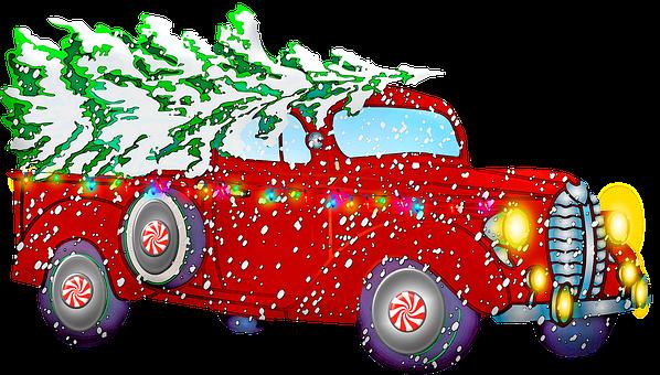 Christmas Retro Car, Santa Claus, Gifts
