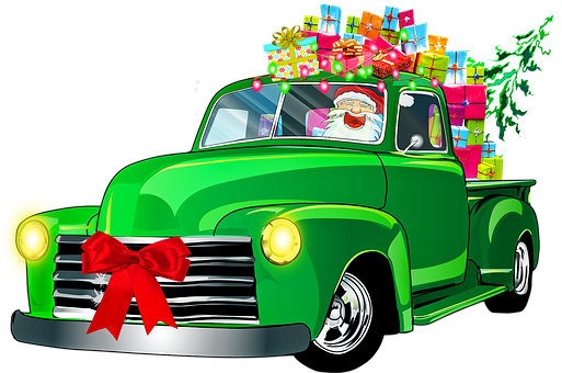 Christmas Retro Car, Santa Claus, Gifts