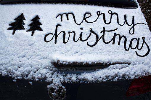 Christbaum, Schnee, Frost, Autoscheibe