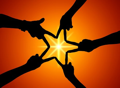 Team, Christmas, Star, Hands, Silhouette