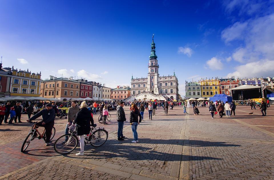 Miasto, Zamość, Polska, Rynek, Kamienice, Zabytki