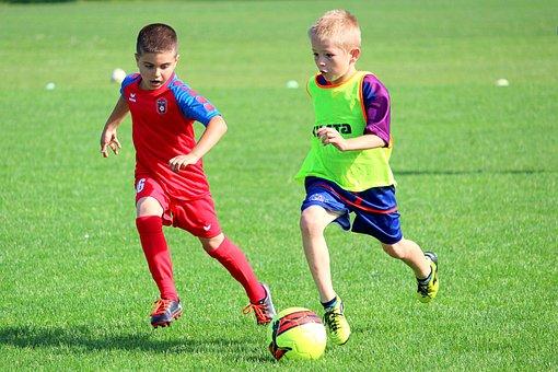 サッカー, 子供, Prep, 一致, 行動, 遊びます, 男の子, スポーツ