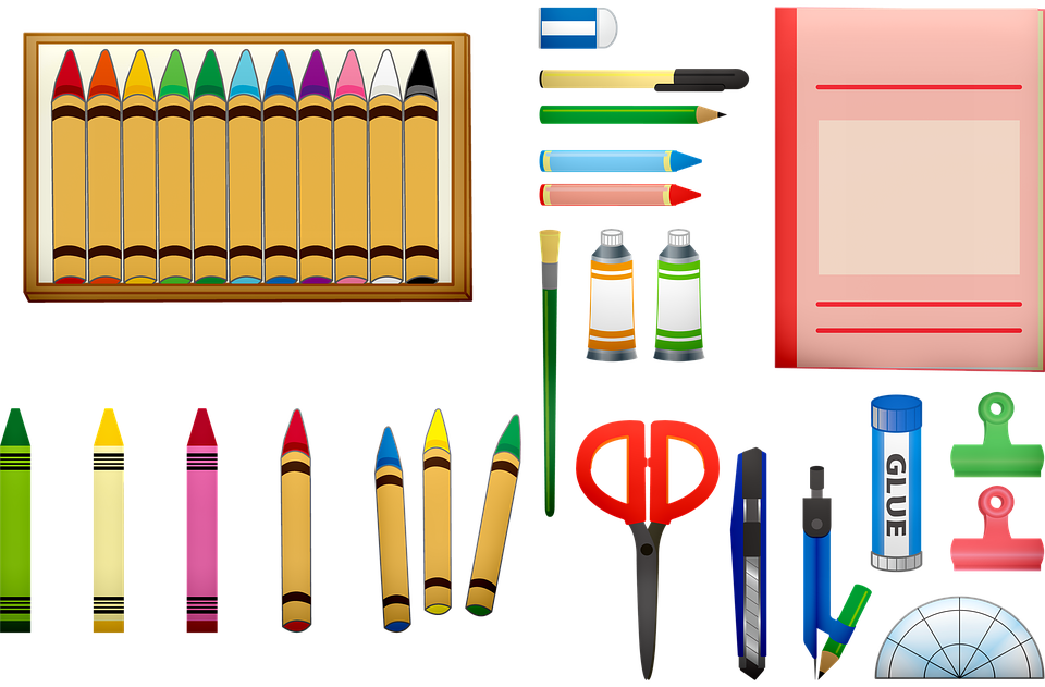 School Supplies, Crayons, Scissors, School, Color